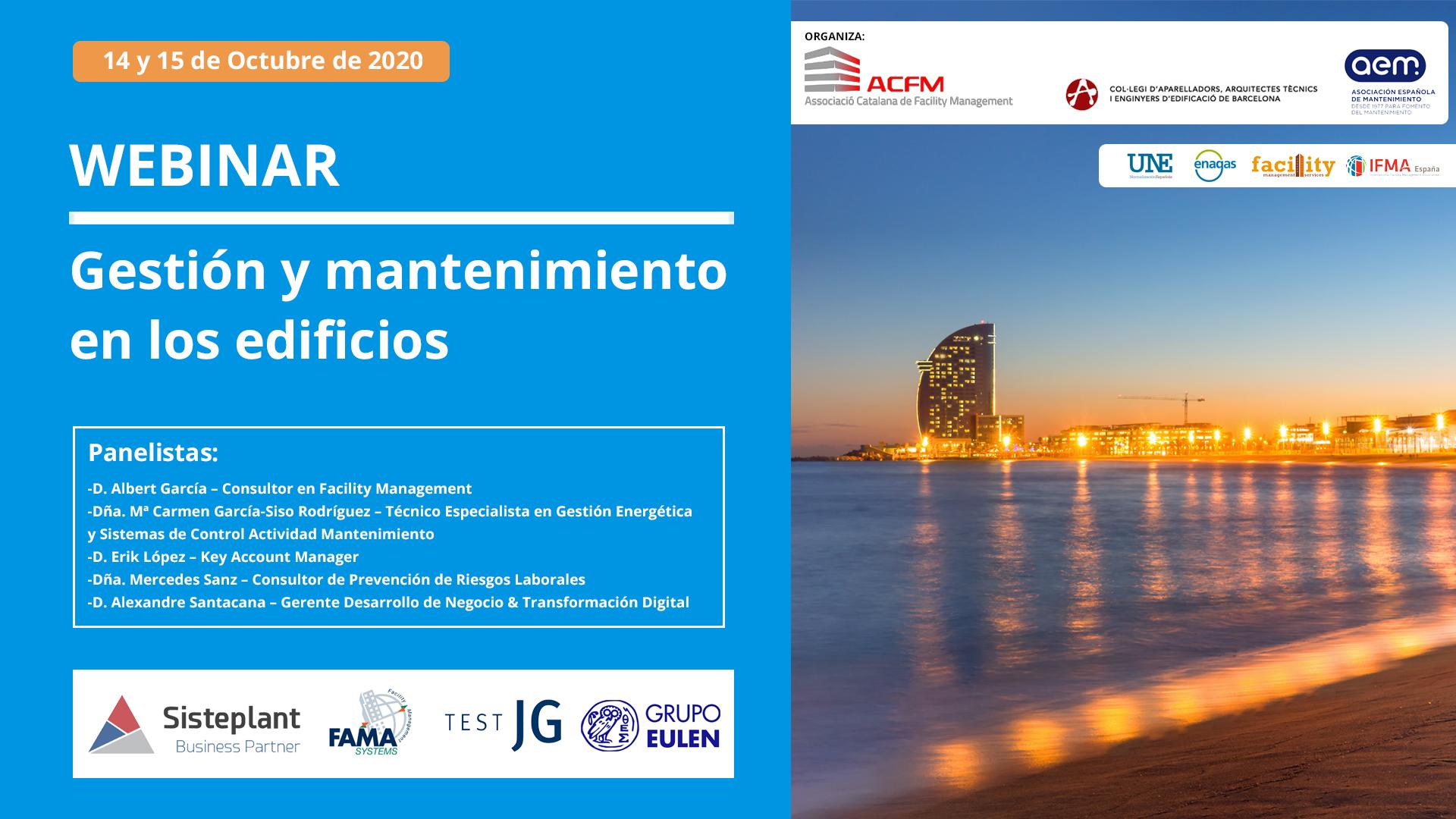 GESTIÓN Y MANTENIMIENTO EN EDIFICIOS Webinar 14 y 15 Octubre 2020